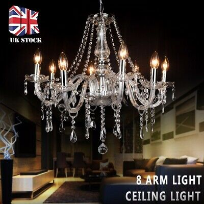 Retro Clear Crystal Chandelier Ceiling Light Droplets Pendant Lamp 8 Arm Light