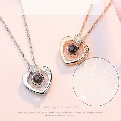 Lady Women Gifts Subloom-100 Languages I Love You Pendant Necklace Heart Jewelry