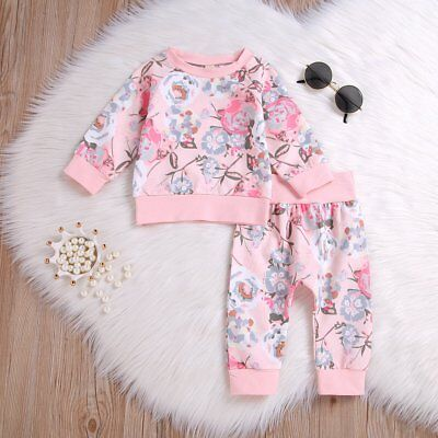 Toddler Kids Baby Girls Floral Clothes Sweatshirt Tops+Pants Outfits 2PCS Sets