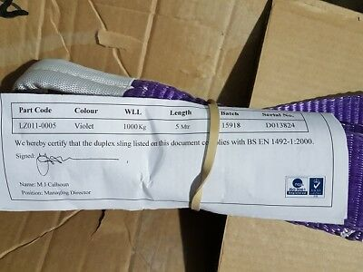 Joblot of 12 x Violet Duplex Slings 5M WLL 1000kg