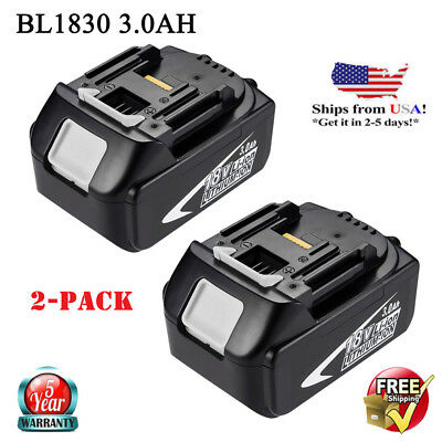 2X NEW For Makita BL1830 LXT 18V Lithium-Ion Battery BL1815 BL1815 BL1840 3.0Ah