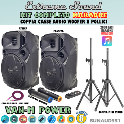 2 CASSE KARAOKE 1100 W. BLUETOOTH RADIO FM 2 Microfoni Wireless Cavo PC+ 2 STAND