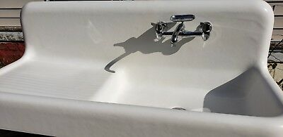 Vintage 1928  Kohler Porcelain Cast Iron Farm House Sink Adjustable Legs Faucet