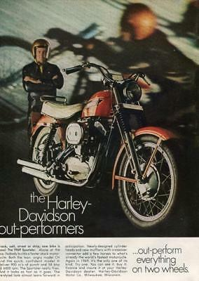 "Vintage Print Ad 1969 Harley Davidson Sportster 900 Motorcycle ""out-Performers"""