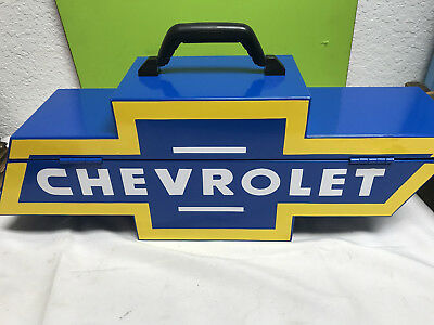 excellent CHEVY chevrolet bowtie GOBOXES tool box blue BT1000V metal steel