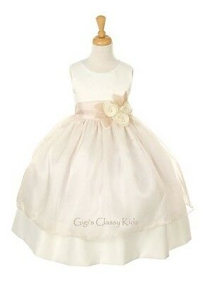 New Ivory & Champagne Flower Girls Dress Easter Christmas Pageant Party 6319KK