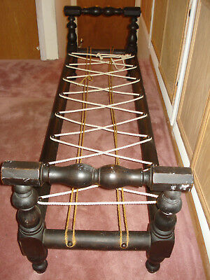 """Antique Solid Wood Rope Bed """"Hired Man's Cot"""" Narrow Single - Local Pickup Only"""