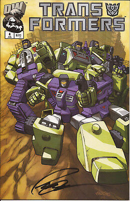 Transformers Generation 1 #4 Signed by Pat Lee Decepticon cover variant CoA VF+