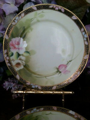 """Three* ANTIQUE * Hand Painted NIPPON  6 1/4"""" Plates * Roses w Gold Trim"""