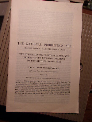 1923 The National Prohibition Act Government Printing Office