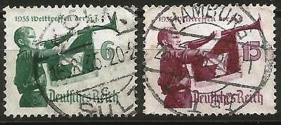 Germany Third Reich 1935 used - World Jamboree Hitler Youth Trumpeter Mi-584-585