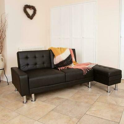 Black Faux Leather 3 Seater Sofa Bed With Ottoman Storage Stool Sofabed Wido