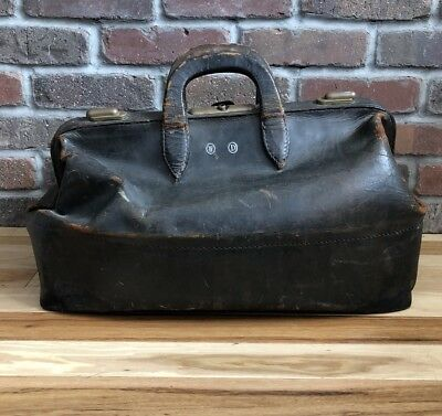 Vintage Cowhide Leather Doctor's Suitcase Bag Satchel Antique