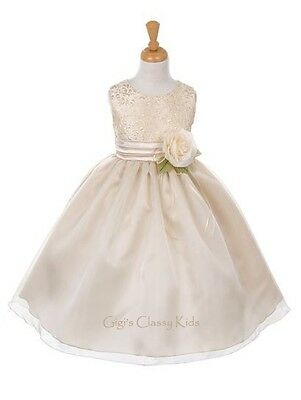 New Gold Champagne Broche & Organza Flower Girls Dress Easter Christmas 6342