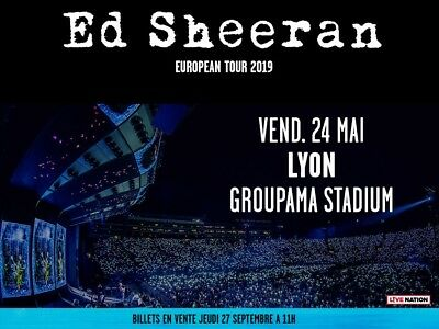 x2 places Ed Sheeran Pelouse Lyon 2405 Ticket