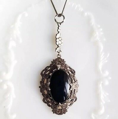 Arts & Crafts / Art Nouveau Sterling Obsidian Necklace
