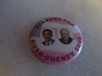 Alabama George Bush Presidential Pin Back Campaign Button 2000 Cheney Candidate