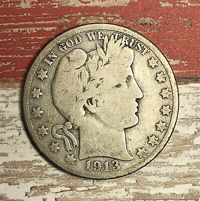 1913-S Barber Silver Half Dollar Collector Coin For Your Set Or Collection .