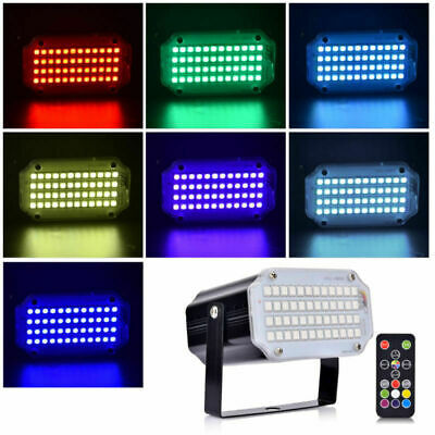 48 RGB LED Strobe Light Remote Control Flash Stage Light for DJ Home Party 12W