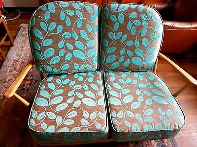 1960s Windsor retro vintage ercol 2 seater Blonde wood new cushions turquoise