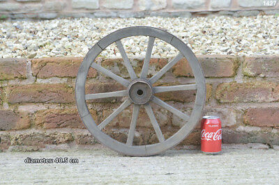 Vintage old wooden cart wagon wheel  / 40.5 cm - FREE DELIVERY