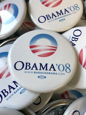 1 White 2008 Barack Obama Official Presidential Campaign Buttons Pins Button