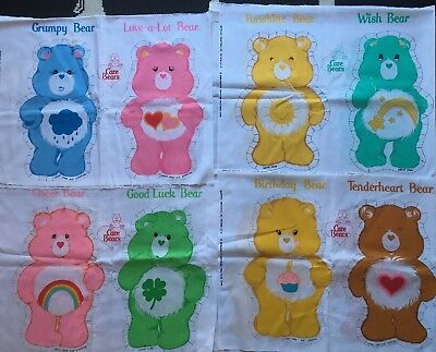 "VINTAGE 2 1//4/"" Care Bears Good Luck Bear Fabric Iron on Patch 1980s"