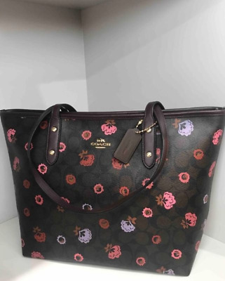 00d03ef6c0d9 NWT F24372 Authentic Coach City Tote Floral Patented Print Signature Leather  Bag