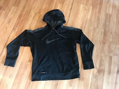 Nike Youth Therma-Fit Hoodie - Size Medium - Black with Gray Logo