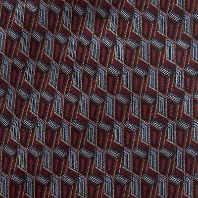 """Stafford Executive Red & Blue Geometric Silk Necktie 4"""" x 60"""" Made in Italy"""