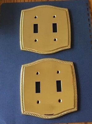 Pair Brass 2 Double Toggle Light Switch Plate Rope Edge Liberty Scuffed Used
