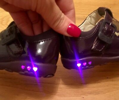 Beautiful Purple Patent Baby Girls Clarks Shoes,With Lights,Infant Size 4.5f