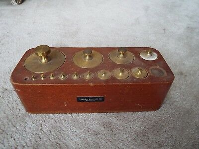 ANTIQUE VINTAGE TORSIAN BALANCE COMPANY SCALE WEIGHT SET 2g TO 2000g NR