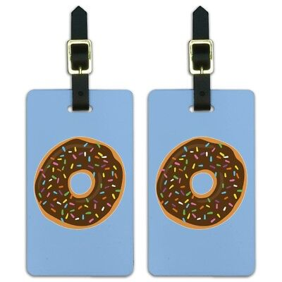 Cute Donut Sprinkles Chocolate Icing Luggage ID Tags Cards Set of 2