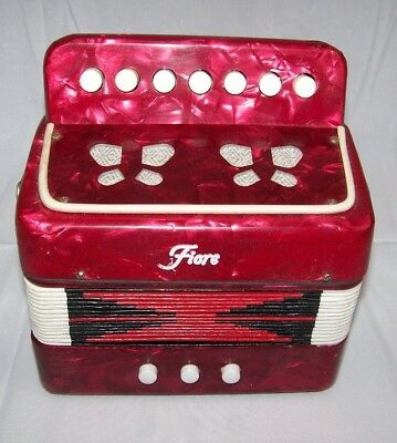 Fiore Accordian Vintage Red Pearl Mini Squeeze Box Kids Toy Concertina