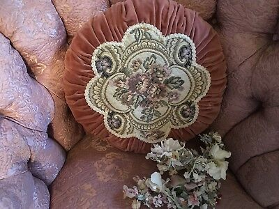Antique Ruched Pillow Rusty Pink Velvet Floral Tapestry 1930s-1950s #G