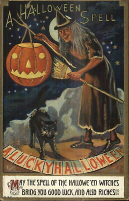 A LUCKY HALLOWEEN Old Witch Black Cat B37 Series c1910 Postcard EXC COND