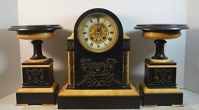 J.E. Caldwell Marble and Bronze Mantel 3 Piece Clock Set