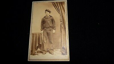 """#1023A  antique vtg SMALL CABINET CARD photo  of SAILOR   4"""" x 2 1/4"""""""