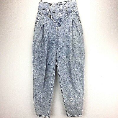 Vintage 80s Cherokee High Waisted Jeans Size 5 Acid Wash Baggy Pleated Tapered