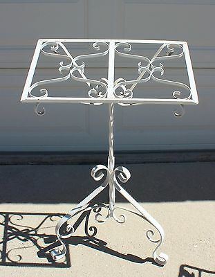 Wrought Iron Music Stand Book Display Wedding Podium Vtg Chic Yard Garden Shabby