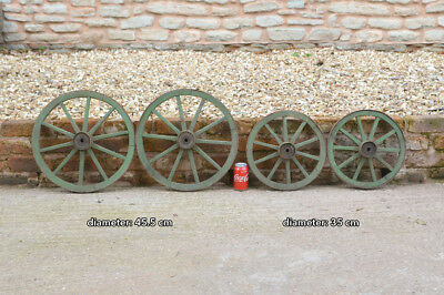 set of 4 vintage old wooden cart carriage wagon wheels wheel - 45.5 cm / 35 cm