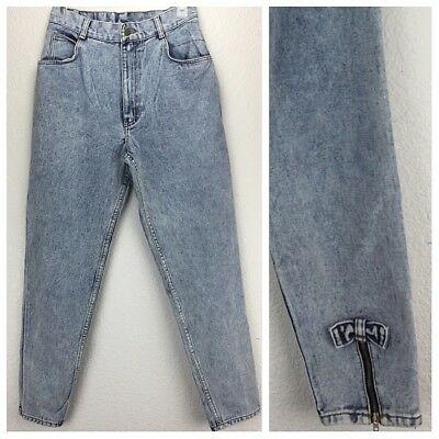 Vintage 80s No Excuses High Waisted Jeans Acid Wash Tapered Legs Ankle Zippers