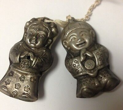 Antique VINTAGE Chinese SILVER PAIR OF CHINESE CHILDREN PENDANTS AMULETS CHARMS