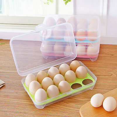 15 Eggs Holder Plastic Refrigerator Egg Storage Box Case Food  Kitchen be.TOP
