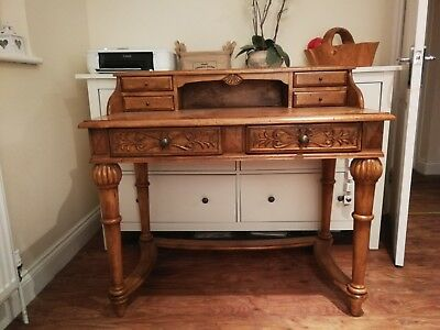 Antique carved Ornate wood Bureau / Writing Desk / sideboard / console table