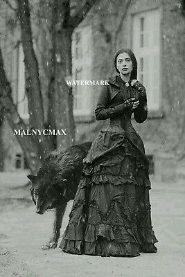 A lady and a black wolf, vintage (4 x 6 photo reprint).