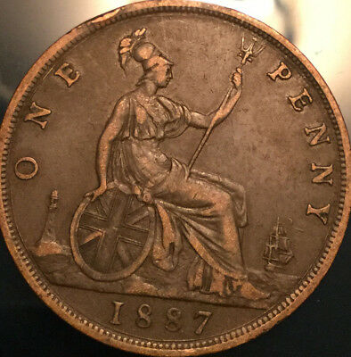 1887 UK GB GREAT BRITAIN VICTORIA PENNY - Good example!
