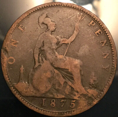 1875 UK GB GREAT BRITAIN VICTORIA PENNY - Good example!