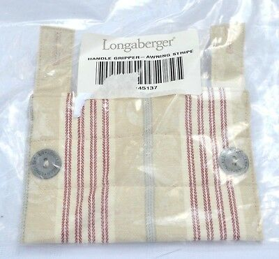 Longaberger Fabric Padded & Buttoned HANDLE GRIPPER - AWNING STRIPE